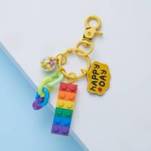 Color Slogan Pendant Key Chain