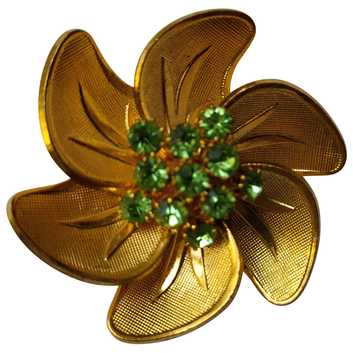 Broche Motifs Floraux en Metal Dorado Non Signe / Unsigned