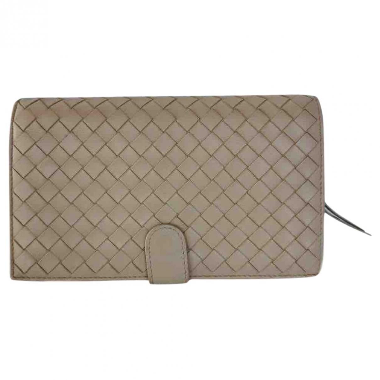 Bottega Veneta - Portefeuille Intrecciato pour femme en cuir - beige