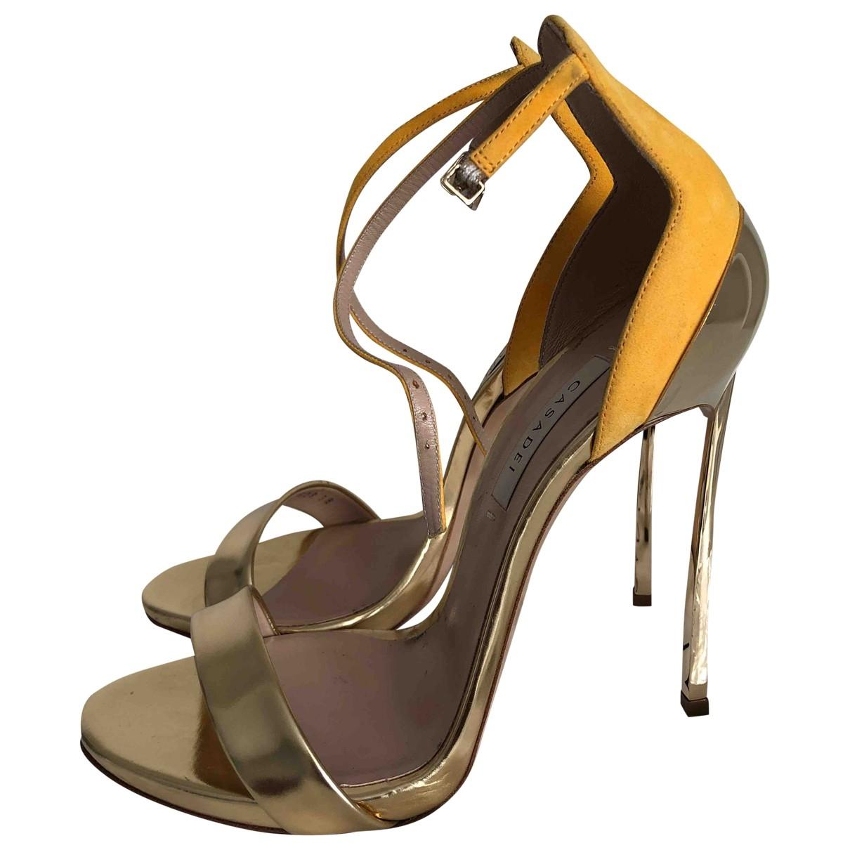Casadei \N Gold Leather Heels for Women 38 EU