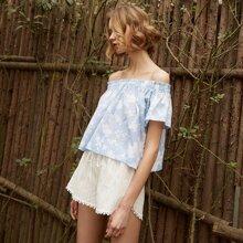 PJM Top mit Blumen & Streifen Muster & Shorts mit Taillenband Schlafanzug Set