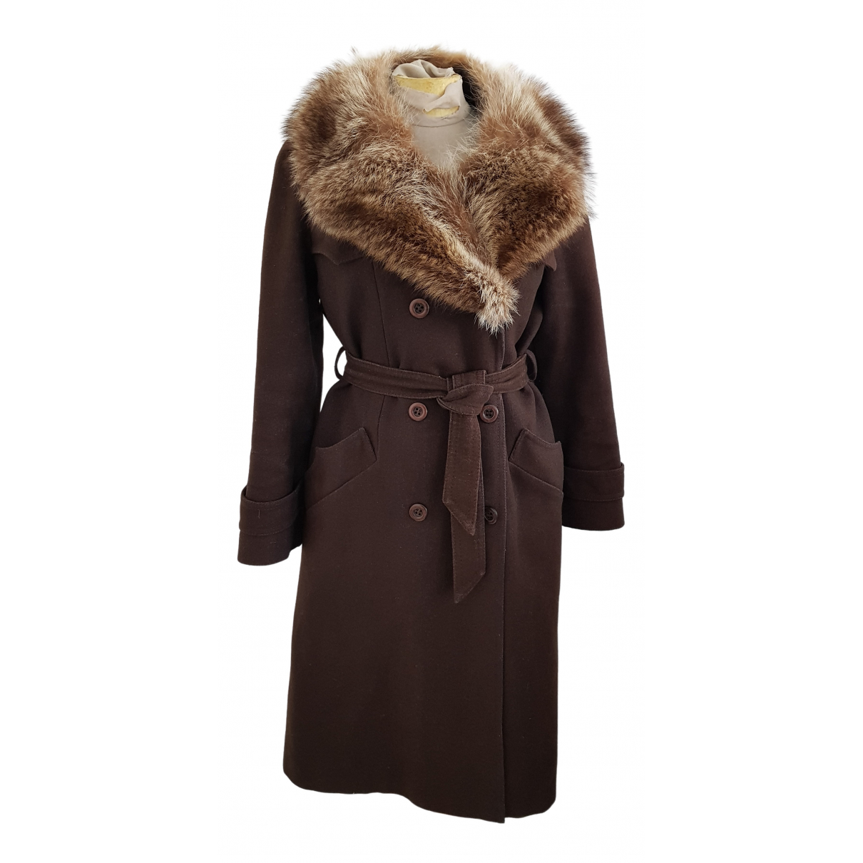 Non Signé / Unsigned N Brown Wool coat for Women 36 FR
