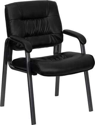 BT1404 Collection BT-1404-BKGY-GG Executive Side Reception Chair with Padded Arms  Contoured Cushions  Floor Protector Glides  Titanium Metal Frame