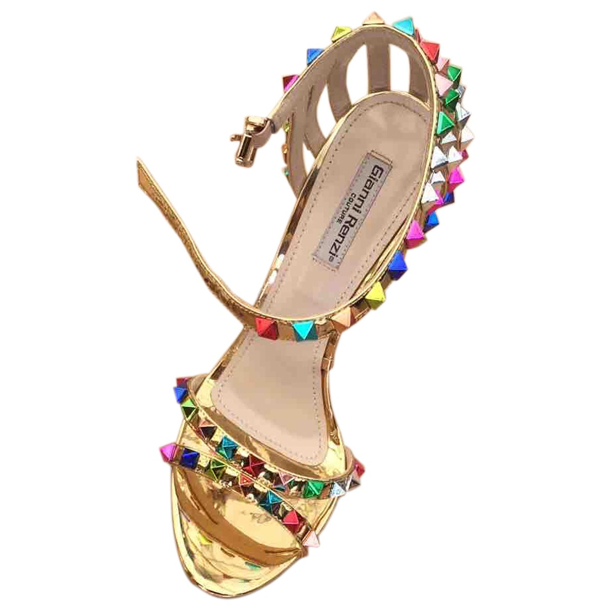 Non Signé / Unsigned \N Gold Patent leather Sandals for Women 38 EU