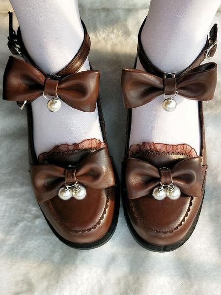 Milanoo Sweet Lolita Footwear Ecru White Bows Pearls Puppy Heel Lolita Pumps