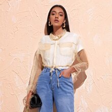 Drawstring Knot Zip Up Sheer Organza Blouse Without Tee