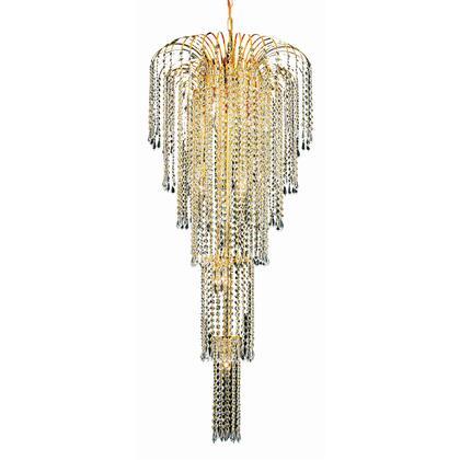 V6801G21G/RC Falls 9 Light Gold Chandelier Clear Royal Cut