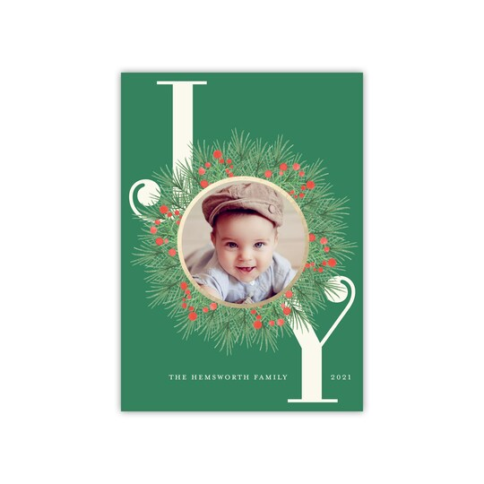 20 Pack of Gartner Studios® Personalized Joy Wreath Flat Foil Holiday Photo Card in Emerald | 5