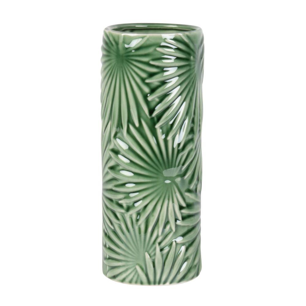 Porzellanvase, mit gruenem Blattmotiv H27