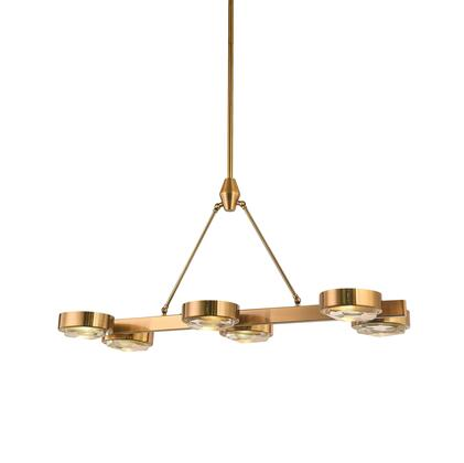 MSF03C37BR 6-Light Chandelier with Iron and Crystal Materials and 60 Watts in Bronze