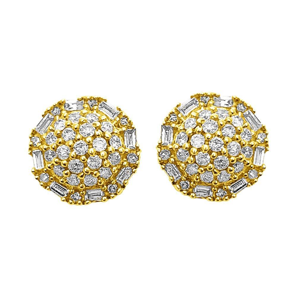 Domed Baguette Circle Diamond Earrings .33cttw 10K Yellow Gold