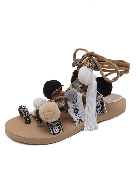 Milanoo Boho Gladiator Sandals Brown Toe Loop Lace Up Sandals Women Flat Sandals With Pom Poms