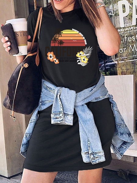 Yoins Casual Graphic Letter Crew Neck Short Sleeves Dress