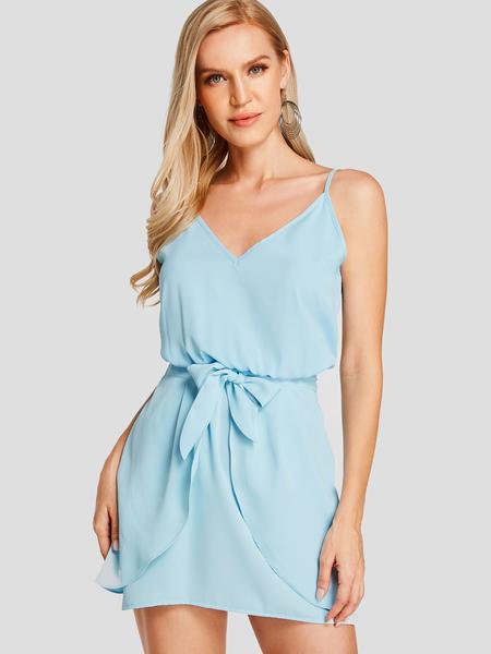 YOINS Blue Plain V Neck Sleeveless Self Tie Design Mini Dress