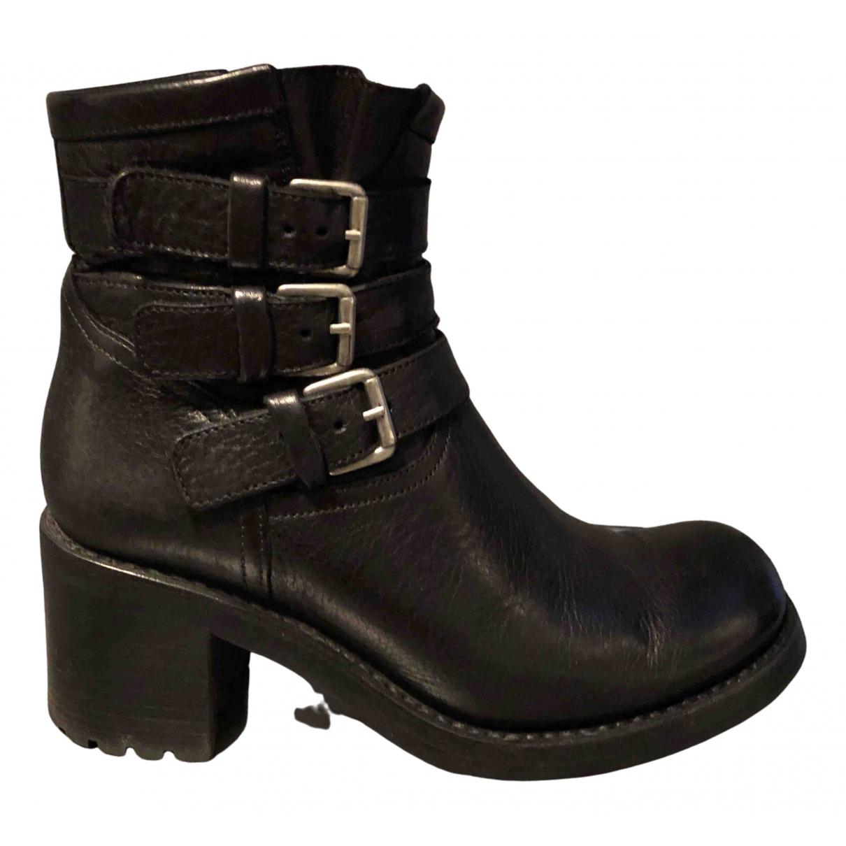 Free Lance - Boots   pour femme en cuir - noir
