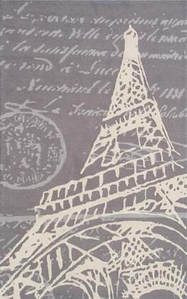 72391D 5 x 8 ft. Tour Eiffel Area Rug  in Gray and