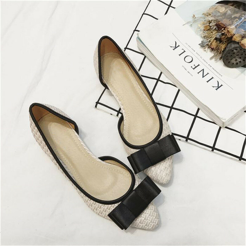 Women D'Orsay Flats Simple Bow Decoration Pointed Toe Knitted Shoes