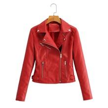 Lapel Collar Zip Up PU Moto Jacket
