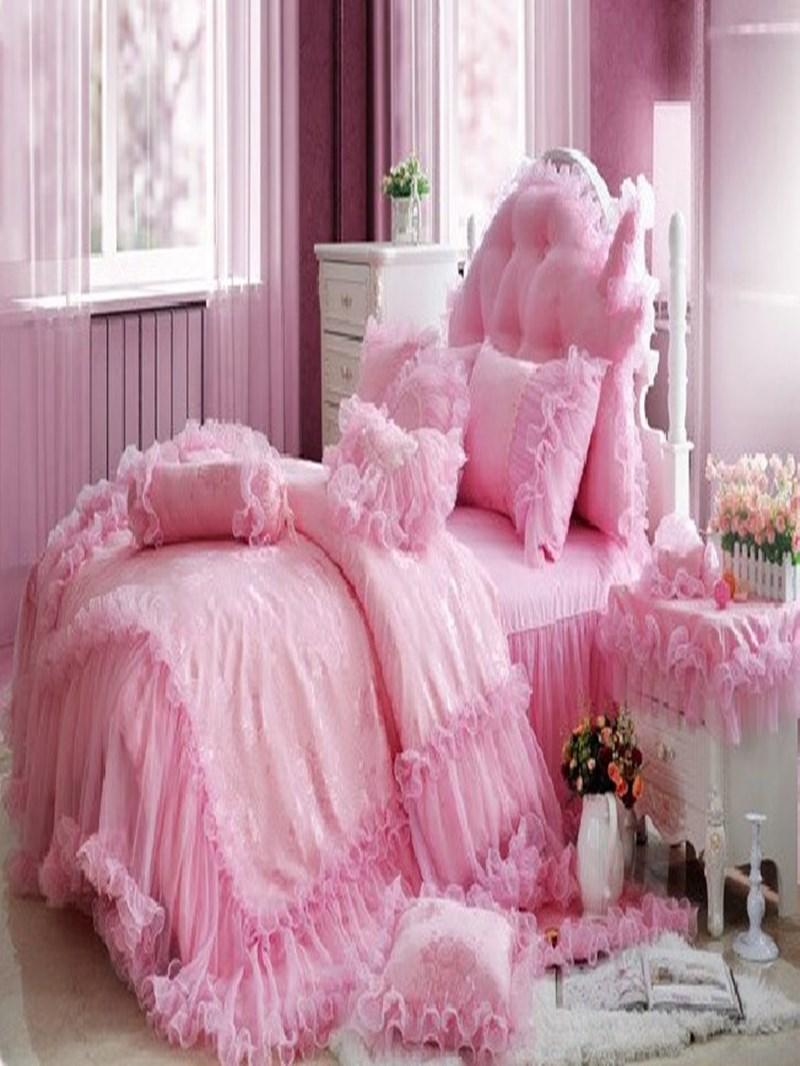Vivilinen Cinderella Total Lace Trim Pure Color Cotton Bedding Sets