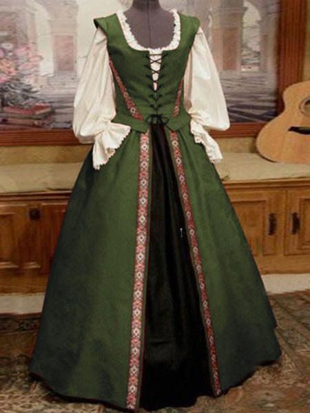 Milanoo Vestido vintage medieval Vestido de fiesta con lazo rojo en capas sin mangas con cuello halter