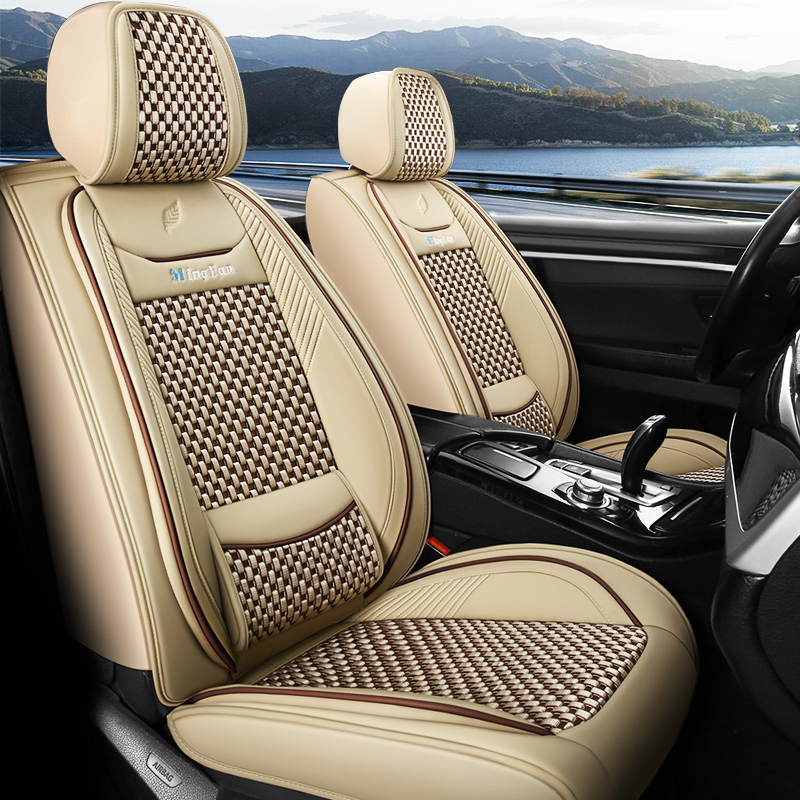 PU Stripe Cotton Business Seat cover Business Style 5-seater Full Coverage Skin-friendly & Wear-resistant Leather & Breathable Ice Silk Fabric Detacha