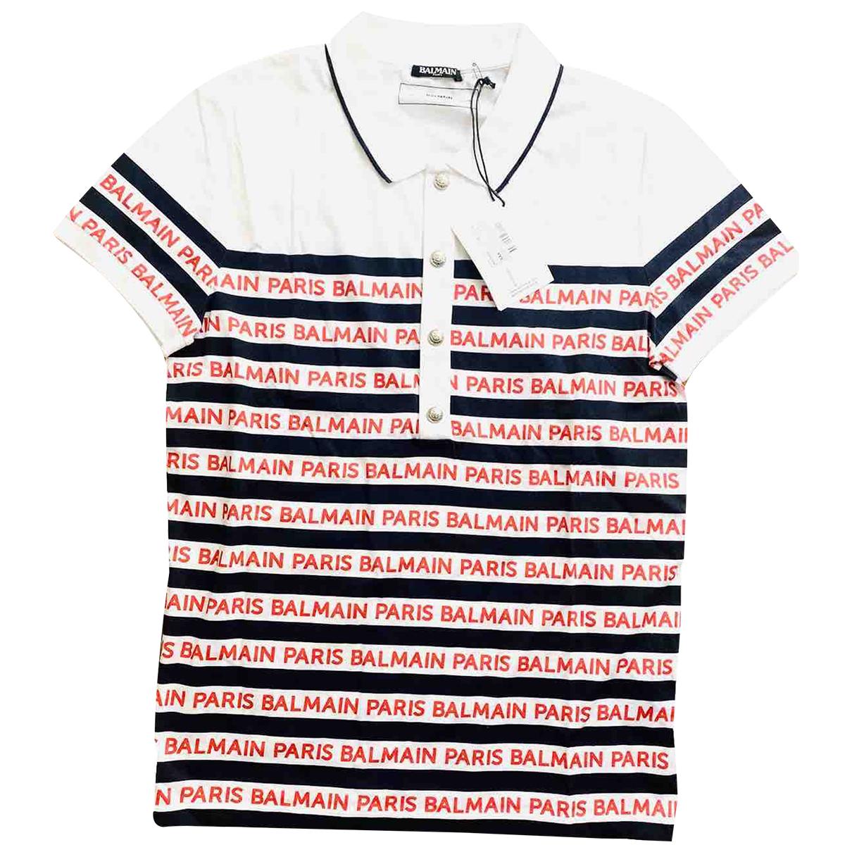 Balmain - Polos   pour homme en coton - blanc