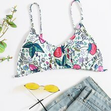 Floral & Strawberry Print Bikini Top