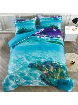 3D Sea Turtle in the Blue Ocean Tencel Cotton Digital Printed 5-Piece Lightweight Warm Zipper Comforter Sets with White Down Quilt