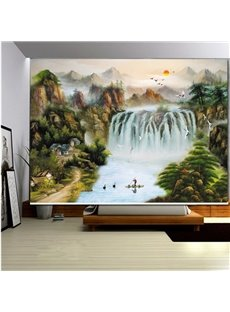 Chinese Style Waterfall Painting 3D Printed Roller Shades