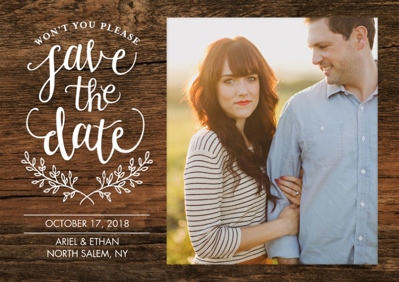 Save the Date 5x7 Cards, Premium Cardstock 120lb with Rounded Corners, Card & Stationery -Wedding Save the Date Rustic