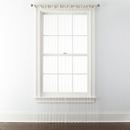 Regal Home Adriana Bead Light-Filtering Rod-Pocket Single Curtain Panel, One Size , White
