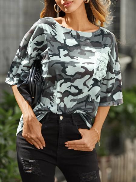 YOINS Army Green Camo Lace Pocket Design Crew Neck Short Sleeves Tee