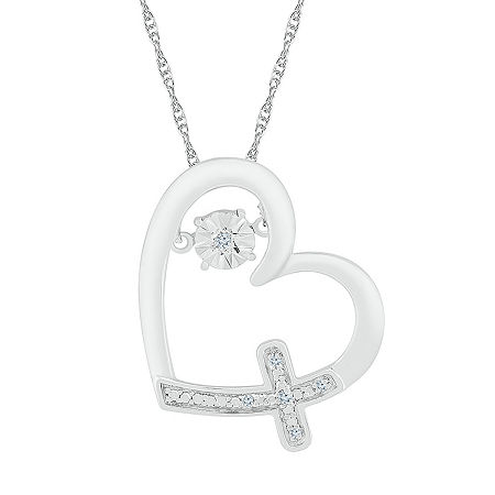 Womens Diamond Accent Genuine White Diamond Sterling Silver Heart Pendant Necklace, One Size , No Color Family