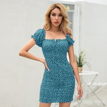 Ditsy Floral Print Shirred Knot Detail Bodycon Dress