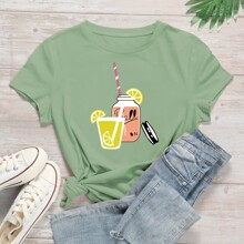 Fruit Juice & Letter Graphic Tee