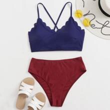Bikini Badeanzug mit Bogenkante, Band hinten und hoher Taille
