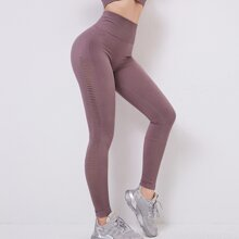Eyelet Wide Waistband Sports Leggings