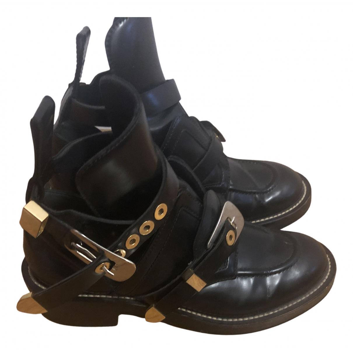 Balenciaga Ceinture Black Leather Ankle boots for Women 40 EU