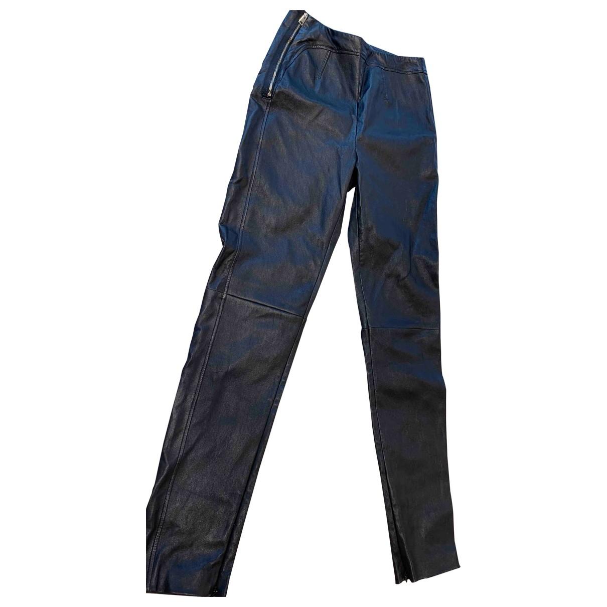 La Perla \N Black Leather Trousers for Women 40 IT