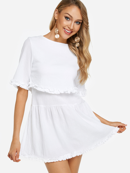 Yoins White Tiered Design Round Neck Half Sleeves Dress