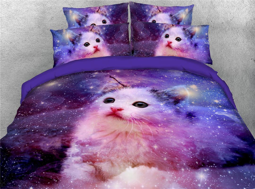 Cat Galaxy Comforter Set Machine Wash Five-Piece Set Polyester Bedding Sets Skin-friendly All-Season