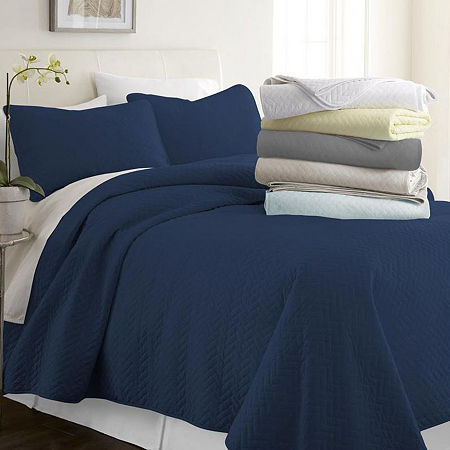Casual Comfort Premium Ultra Soft Herring Pattern Quilted Coverlet Set, One Size , Blue