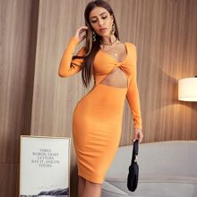 Twist Cut Out Front Bodycon Dress