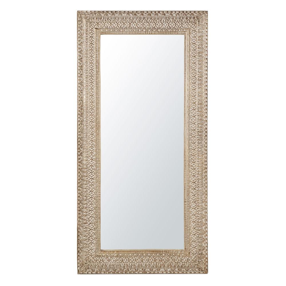 Spiegel mit geschnitztem Rahmen, weiss pigmentiert 91x183