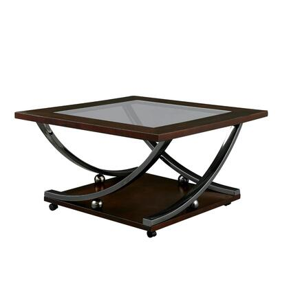 BM187124 Wooden Coffee Table with Glass Top and Curled Metal Feet  Brown and