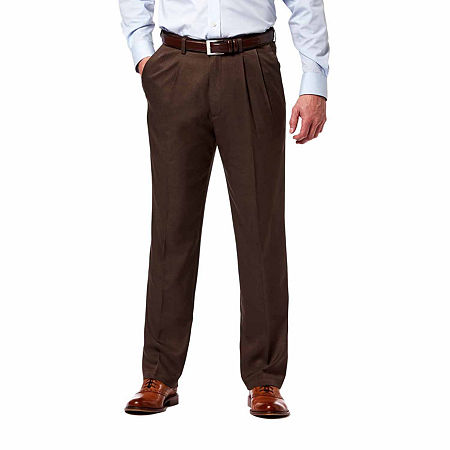 Haggar Cool 18 Pro Pleated Pant, 32 32, Brown
