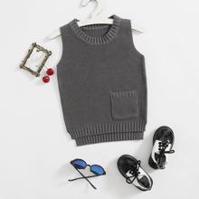 Toddler Boys Pocket Front Split Hem Sweater Vest