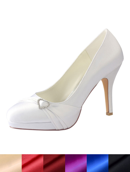 Milanoo White Wedding Shoes Round Toe Rhinestones Bridal Shoes Silk High Heels