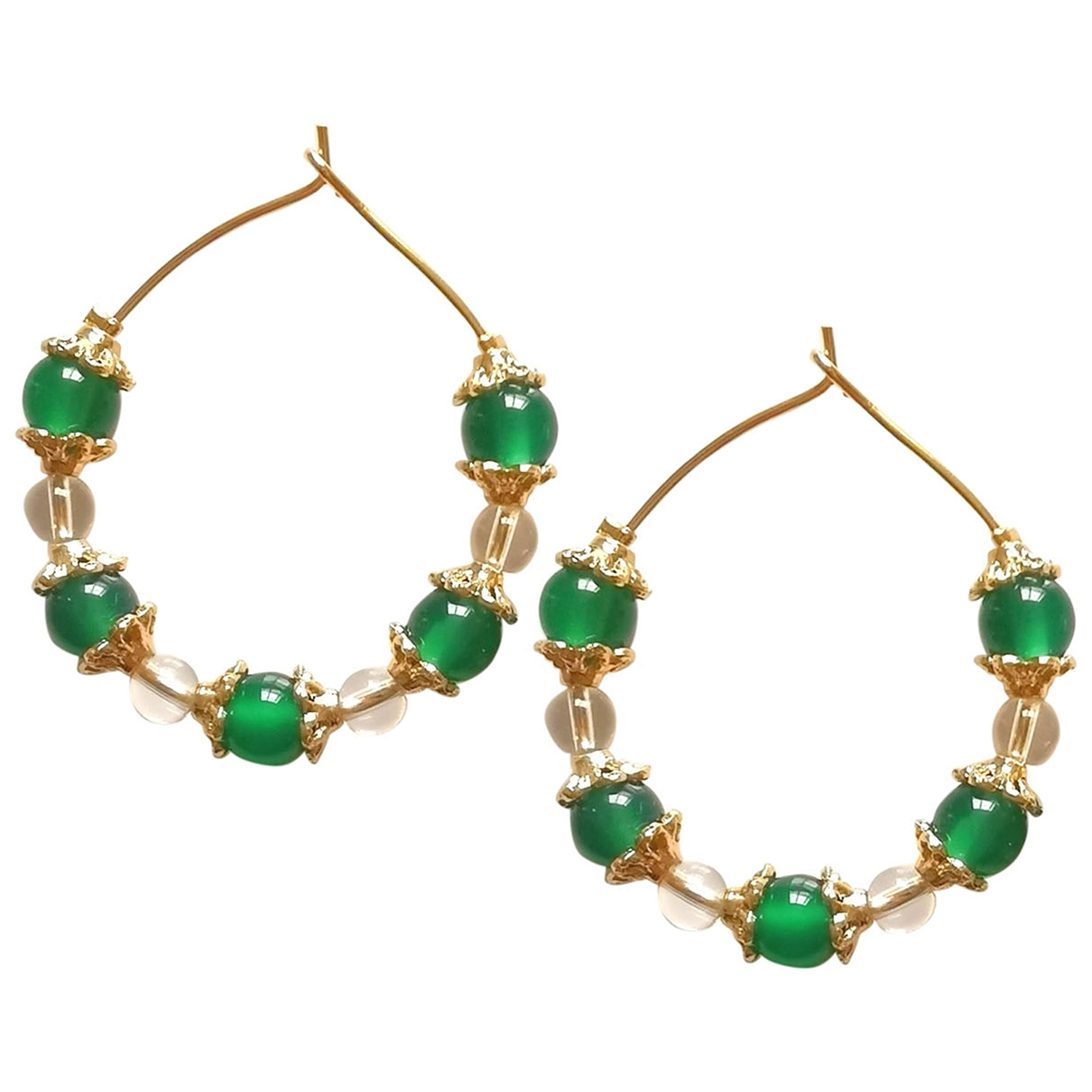 - Boucles doreilles   pour femme en plaque or - vert