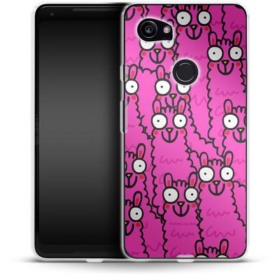 Google Pixel 2 XL Silikon Handyhuelle - Lama Pink Dream von Flossy and Jim